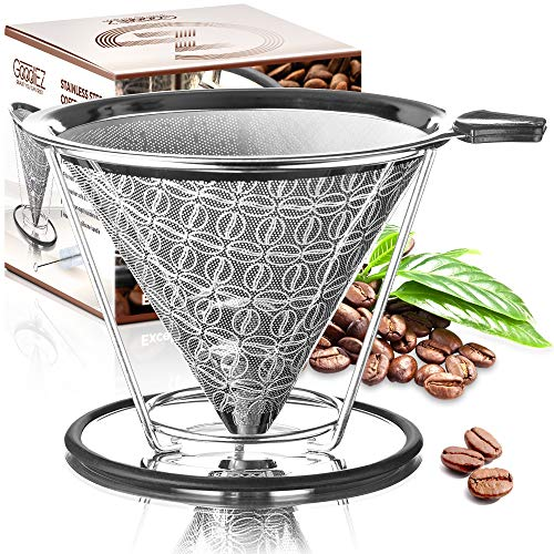Goodiez Coffee Pour over Coffee Maker-Pour over Coffee Dripper Kit-Reusable Pour over Coffee Filter-Stainless Steel Coffee Filter Mesh-Metal Drip Coffee Cone Brewer Pourover for Chemex Hario V60