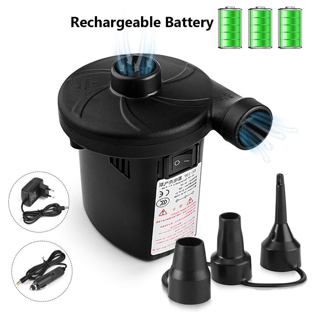 Urslif Bomba Eléctrica Bomba de Aire Inflador/Deflactor Batería Incorporada Eléctrica 1500mAh con 3 Boquillas