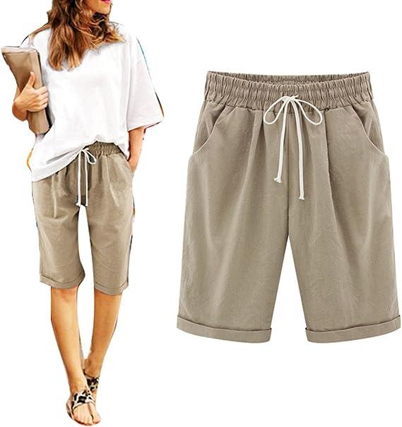 Juqilu Femme Short Loose Bermuda Casual Eté Confortable Cordon de Serrage Elastique Taille Haute Short Yoga Mode Plage Grande Taille M 6XL