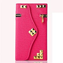 iPhone 6S /6 Wallet Case,Hica Multi-function Premium PU Leather Gold Rivets Zipper Shockproof Portable Wallet Cover with Card Slots for iPhone 6S /6 4.7 Inch,Rose Red