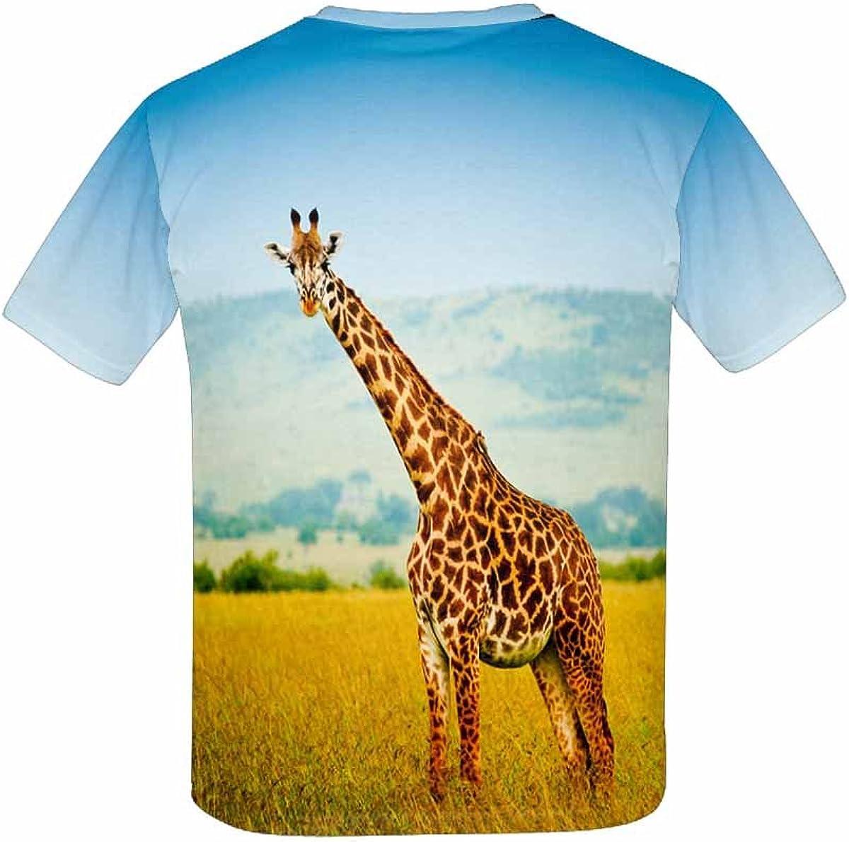 XS-XL INTERESTPRINT Giraffe in The Grassland Kids T-Shirt