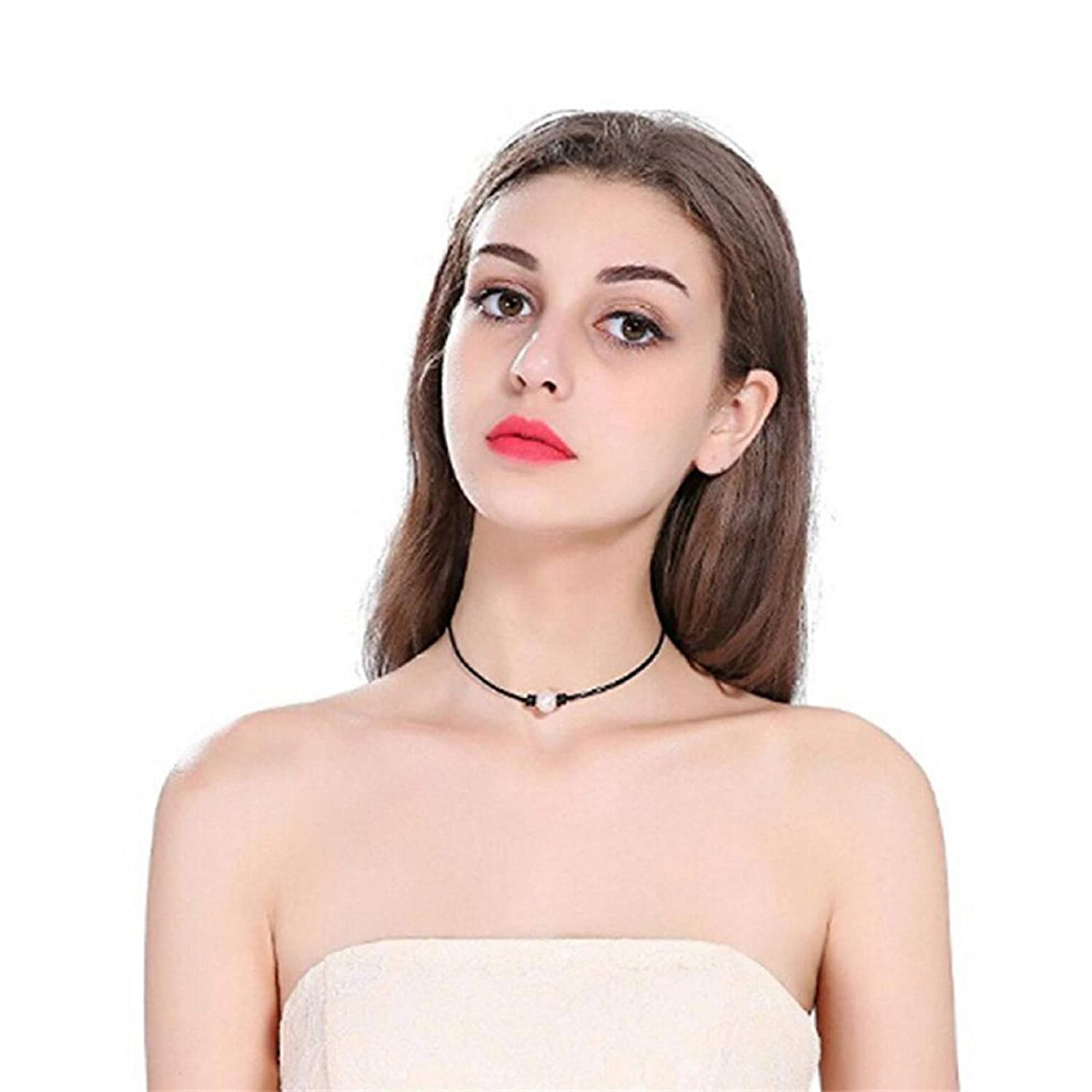 2 Pcs Single Cultured Freshwater Pearl Choker Necklace Handmade Genuine Leather One Bead Jewelry for Women Girls
