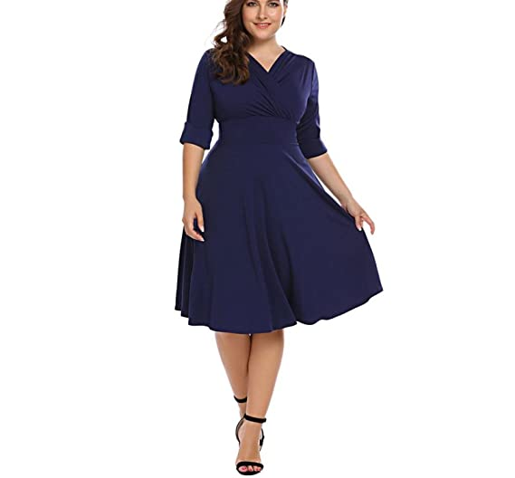 832256196f0 Chiffoned Oversized Party Dress 2018 New Summer Vintage Style Ruched Large  Swing Dresses Plus Size at Amazon Women s Clothing store