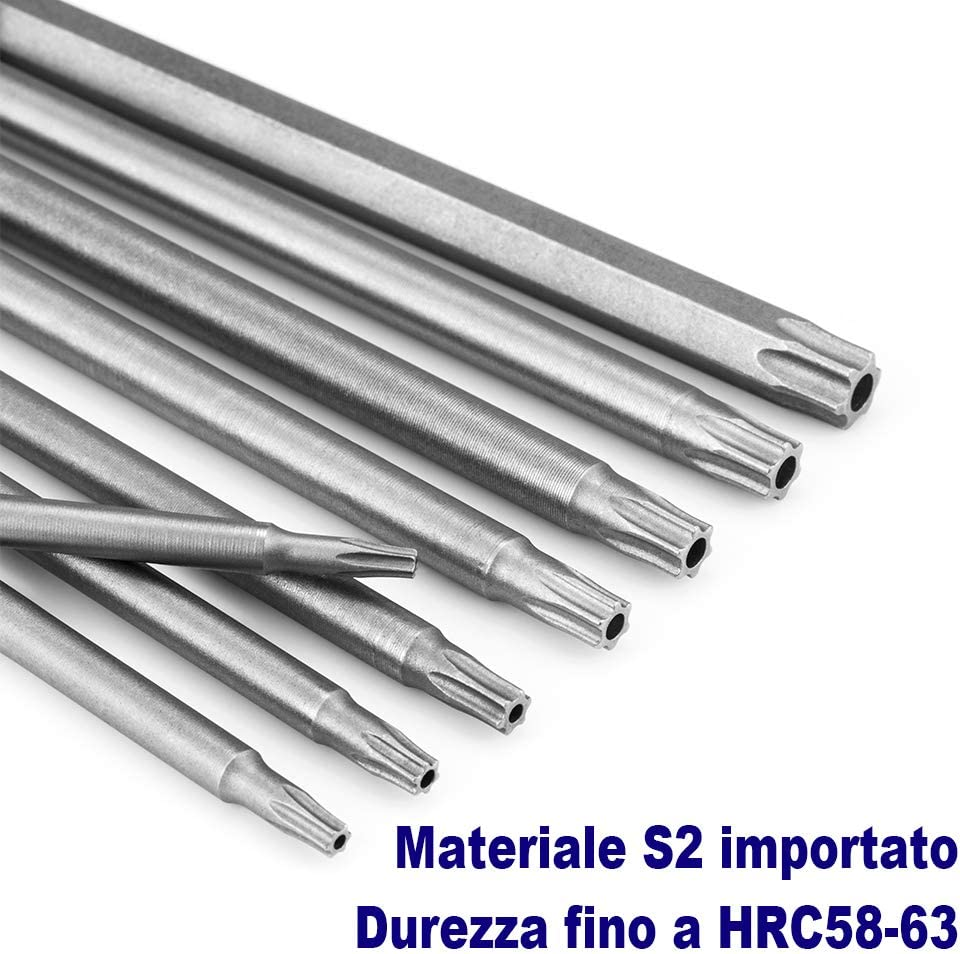 hexagonales 6pcs-100mm 100 mm JTENG Juego destornilladores Torx extralargos y magn/éticos T8-T40 de 1//4 pulgadas