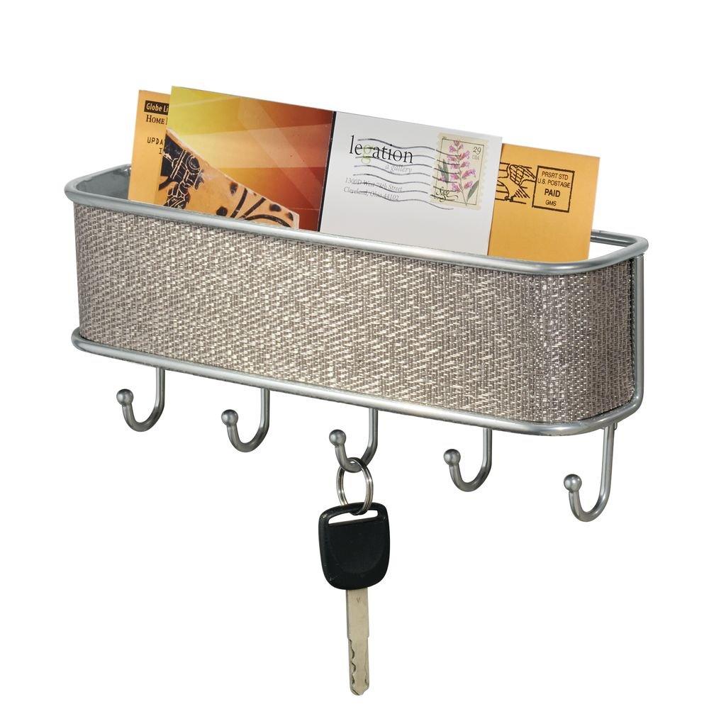 InterDesign Twillo Wall Mount Key Rack Organizer Hooks for Entryway or Kitchen Metallico 95772