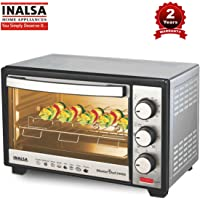 Inalsa MasterChef 24RSS OTG-1600W with Motorised Rotisserie & Temperature Selection|6 Stage Heat Selection |Stainless-Steel Finish,(Silver)