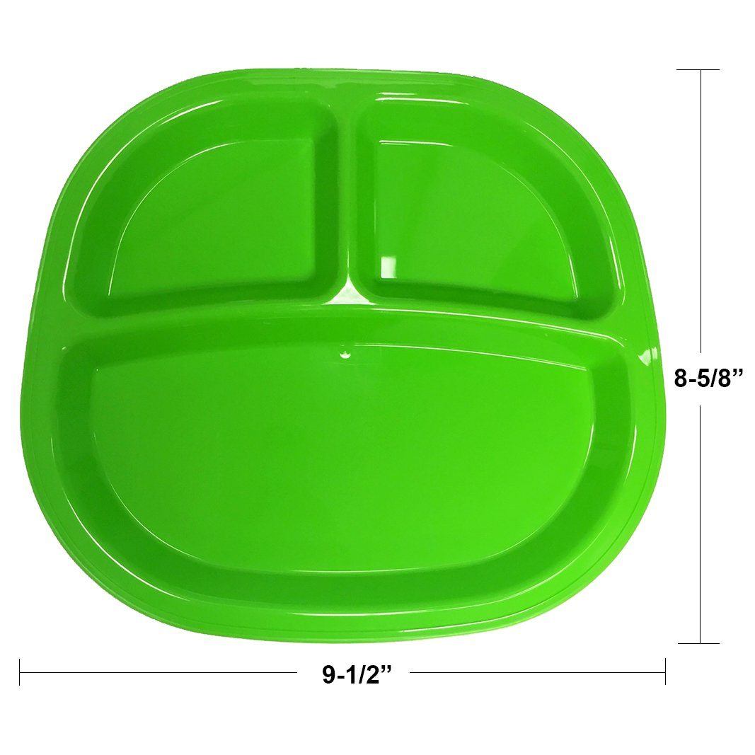 3-Compartment Divided Plastic Kids Tray set of 12 in 4 Assorted Colors