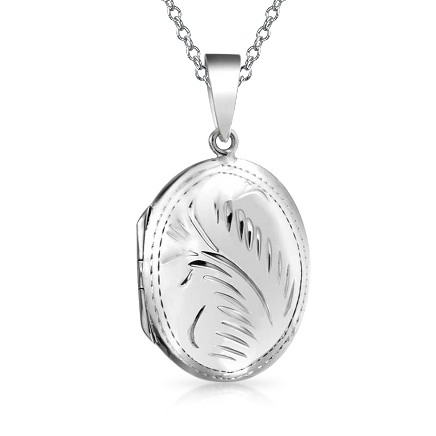 Etched Oval Polished Locket Pendant Sterling Silver Necklace 18 Inches