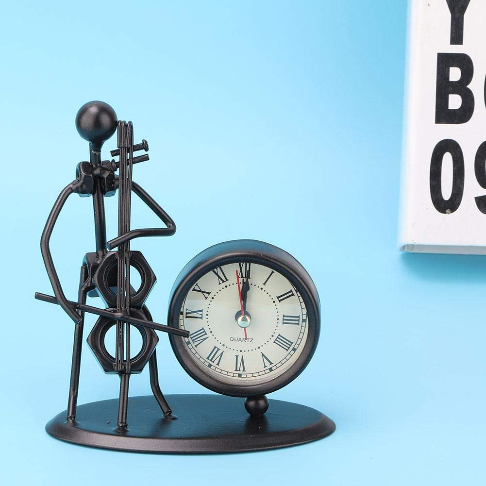 Iron Art Instrument Performer Model Clock Without Battery for Desk Display Decoration for Living Room Flute Office. Bedroom