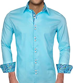 product image for Teal and Blue Paisley Designer Dress Shirt - Made in USA