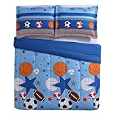 2 Piece Boys Blue Sports Star Comforter Twin Set, All Over Sport Stars Balls Bedding, Fun Multi Football Soccer Soccerball Volleyball Basketball Themed Pattern, Red Orange Navy Black White Brown