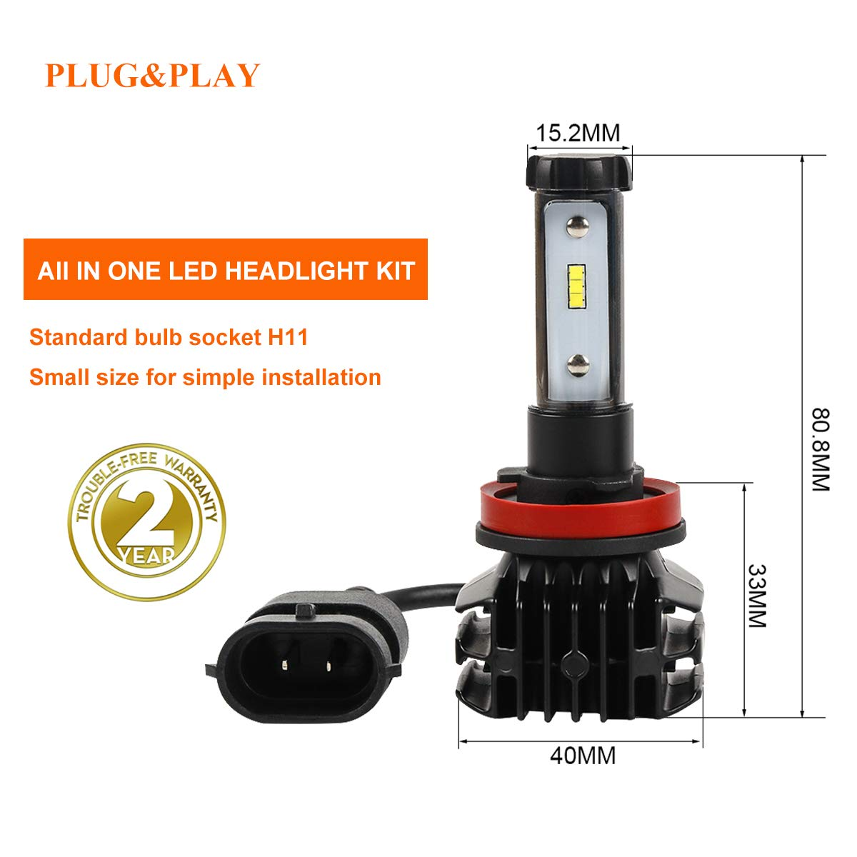 LED Headlight Bulbs H11 Headlamp Bulb with Mini Fan All-in-One Conversion Kit - 3000K 6500K 8000K White (2 Pack)