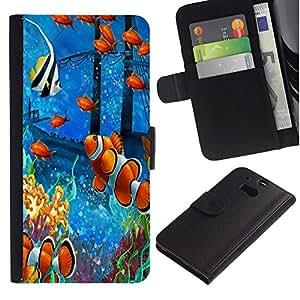 Billetera de Cuero Caso Titular de la tarjeta Carcasa Funda para HTC One M8 / Fish Painting Underwater Sea Coral Koi / STRONG
