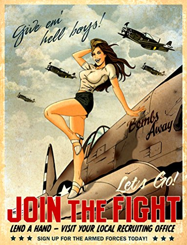 Pin Away Bombs (WWII Recruitment Poster : Give 'em Hell Boys - PINUP : Fine Giclee)