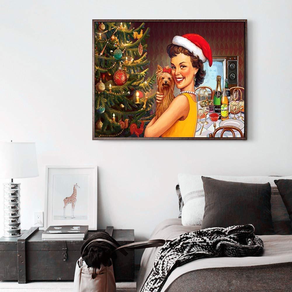 Sunnay Diamond Painting Motivo Babbo Natale con Strass 5D Kit per Punto Croce