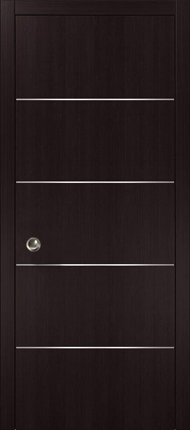 Pocket Sliding Brown Door 28 X 80 With Strips | Planum 0020 Wenge | Frames  Trims Pulls Hardware | Closet Solid Core Door     Amazon.com