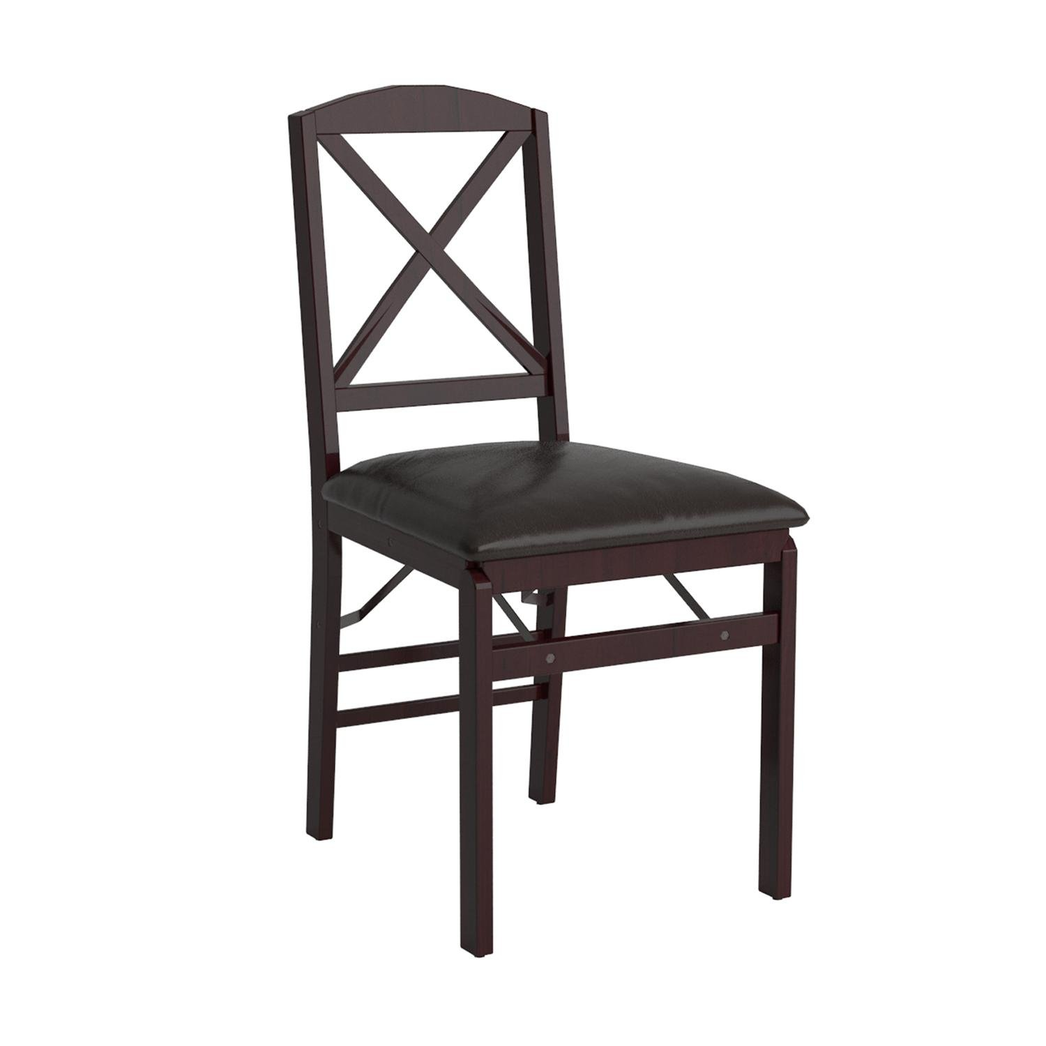 Cosco Espresso Wood Folding Chair with vinyl seat &  X-Back (2-pack) by Cosco