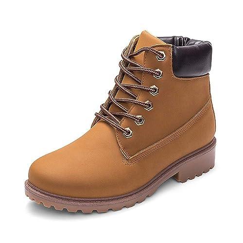 Tefamore Botas de Mujer Cuero Impermeables Botines Mujer Invierno Zapatos Nieve Moda Cordones Zapatos Calientes Planas Combate Militares Boots: Amazon.es: ...