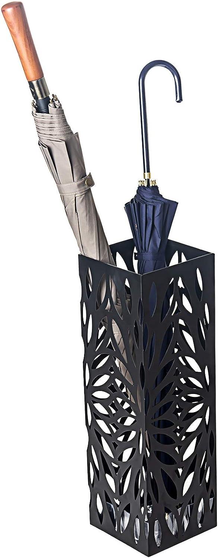 pour la d/écoration de Bureau /à la Maison /égouttement avec 4 Crochets et Plateau Noir, Carr/é D4P Display4top Porte parapluies,Support de Parapluie