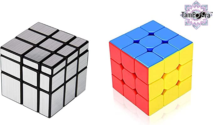 DUL DUL 3X3X3 Cube Speed Cube 3X3 Silver Mirror Cube Combo for Mind Master