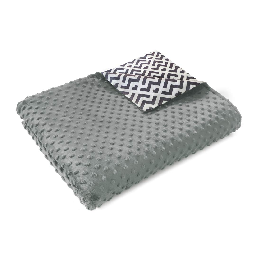 Quility Premium Adult Removable Duvet Cover for Weighted Blanket   86''x92''   Queen/King Size Bed Minky Cover Fabric   Solid Colors   Smooth Side: Chevron Print?þ   Dot Side: Grey by Quility