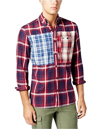20e63bbd Tommy Hilfiger Mixed Plaid Flannel Long Sleeve Button Down Shirt at Amazon  Men's Clothing store: