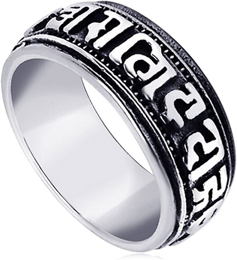 LWLH Jewelry Men's Stainless Steel Vintage Buddhist Six True Syllable Mantra Om Mani Padme Hum Ring