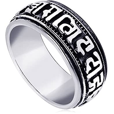 b0f4152002b7a LWLH Jewelry Men's Stainless Steel Vintage Buddhist Six True Syllable  Mantra Om Mani Padme Hum Ring