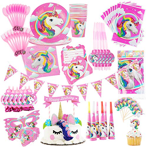 Avid Travelers Unicorn Party Supplies Set-Kids Birthday Party-Girls Party Set with Decorations, Cake Topper, Favors, Cutlery