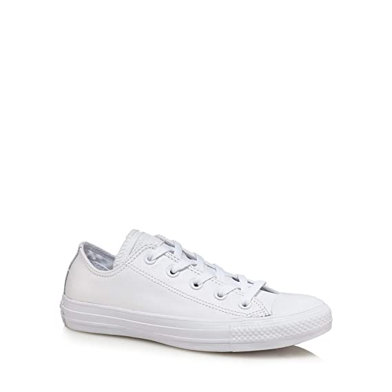 93a8aa498d9cd6 Converse Womens White Leather  Chuck Taylor All Star  Lace Up Trainers 4