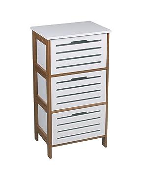 Amazon.de: amazonica Moderner weiß & Bambus 3 Schubladen Schrank ...
