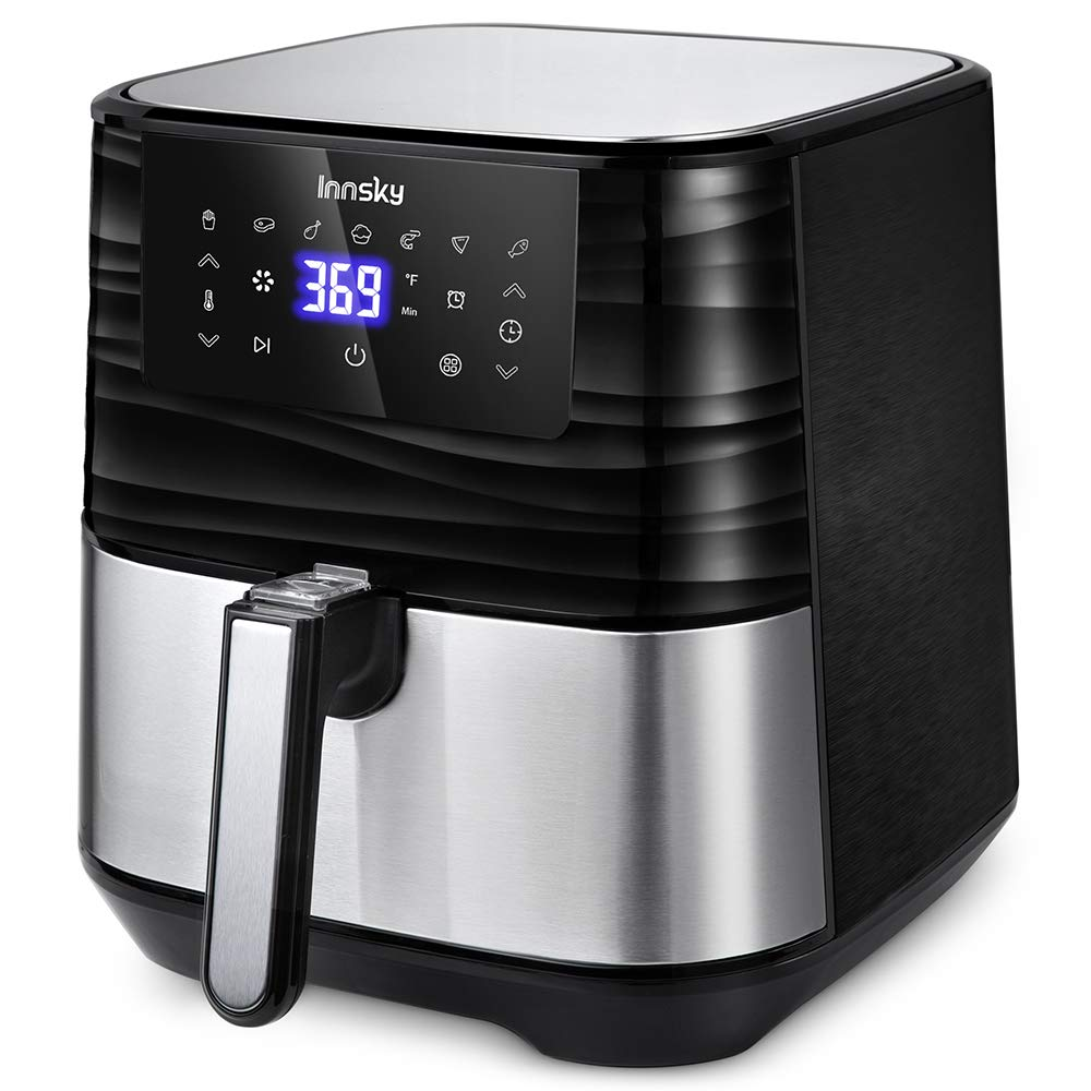 Innsky Air Fryer XL, 5.8QT 1700W Electric Stainless Steel Air Fryers Oven Oilless Cooker, 7 Cooking Presets, Preheat & LED Digital Touchscreen, Nonstick Square Basket, 2 Years Warranty (32 Recipe book )