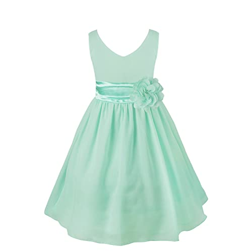 iEFiEL Kids Flower Girl Dress V-Neck Chiffon Wedding Bridesmaid Dress Prom Party Ball Gown