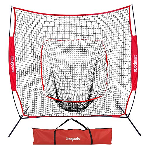 4 Way Youth Pitchers Rubber - ZENY 7'×7' Baseball Softball Practice Net Hitting Batting Catching Pitching Training Net w/Carry Bag & Metal Bow Frame, Backstop Screen Equipment Training Aids