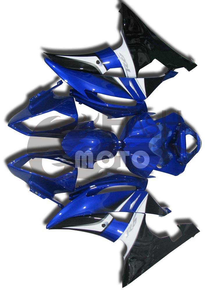 FlashMoto yamaha ヤマハ R6 YZF-600 2008 2009 2010 2011 2012 2013 2014 2015用フェアリング 塗装済 オートバイ用射出成型ABS樹脂ボディワークのフェアリングキットセット (ブルー,ブラック)   B07LF3FVSZ