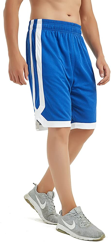 TOPTIE 2-Tone Basketball Shorts for Men with Pockets Pocket Training Shorts