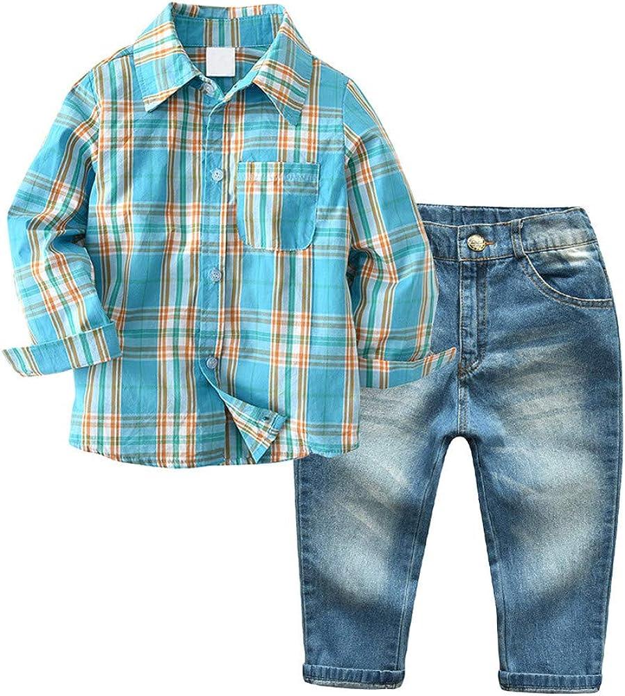Amazon.com: Boys Clothes Set Shirt + Denim Pant Jeans Sets 2 Pieces Autumn  Toddler Boy Gentleman Outfits Suits Set: Clothing