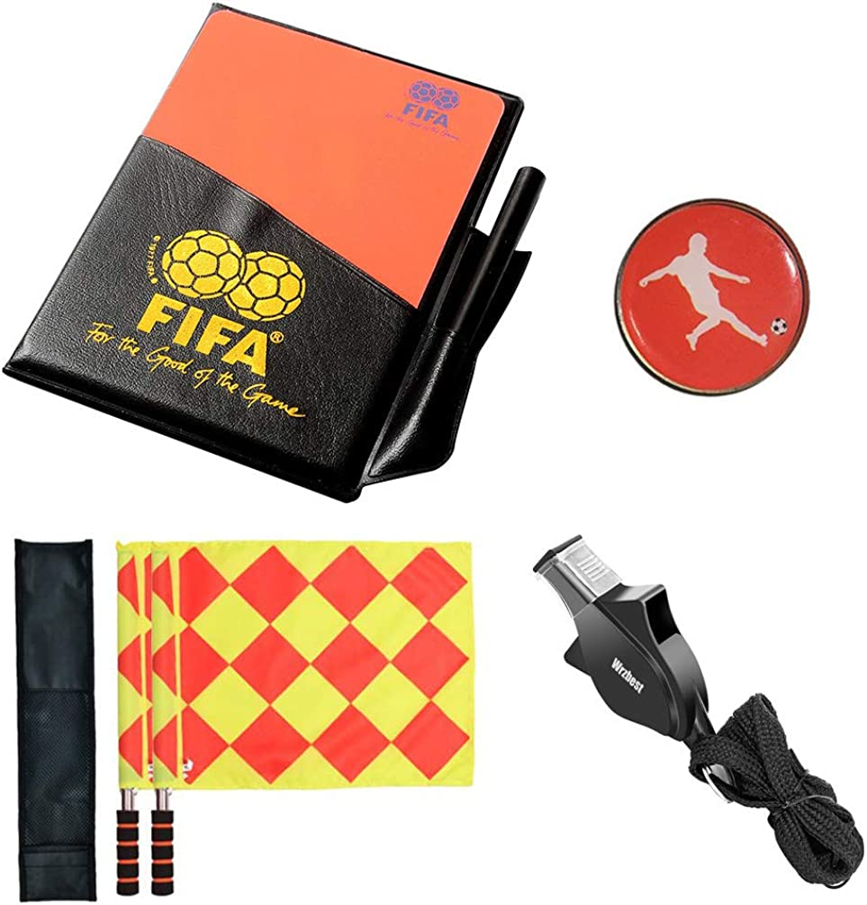 Wrzbest Football Soccer Referee kit Linesman Flags,Referee Whistle,Toss Coin and Yellow Cards with Notebook - 4 in 1 Referee Accessories Set