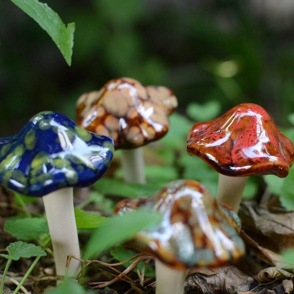 Amazon.com : JINMURY 4-Pack Ceramic Garden Mushrooms, Pottery ...
