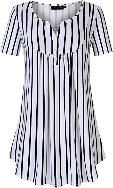 AMZ PLUS Womens Plus Size Henley Button Up Tunic Shirts V Neck Loose Blouse Pleated Tops