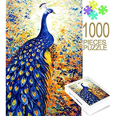 Colorful Peacock 1000 Pcs Puzzle Adult – DIY Large Jigsaw Puzzle for Kids Adults Game Interesting Toys - Hand Made Puzzles Personalized Gift Family Games, Home Decoration, for Boys and Girls: Toys & Games