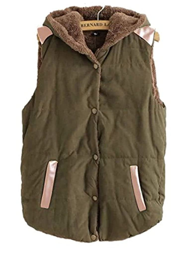 Women// Juniors Autumn Winter Slim Jacket Furry Hoodie Vest Coat Waistcoat Army Green