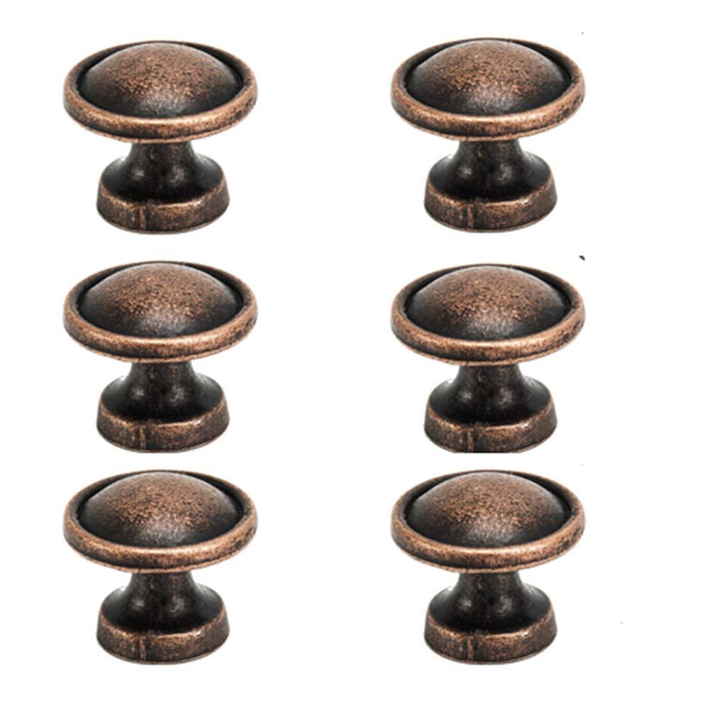 25mm Vintage Copper Knobs Antique Round Cupboard Cabinet Drawer Kitchen Door Pull Handles (12pack) Librao