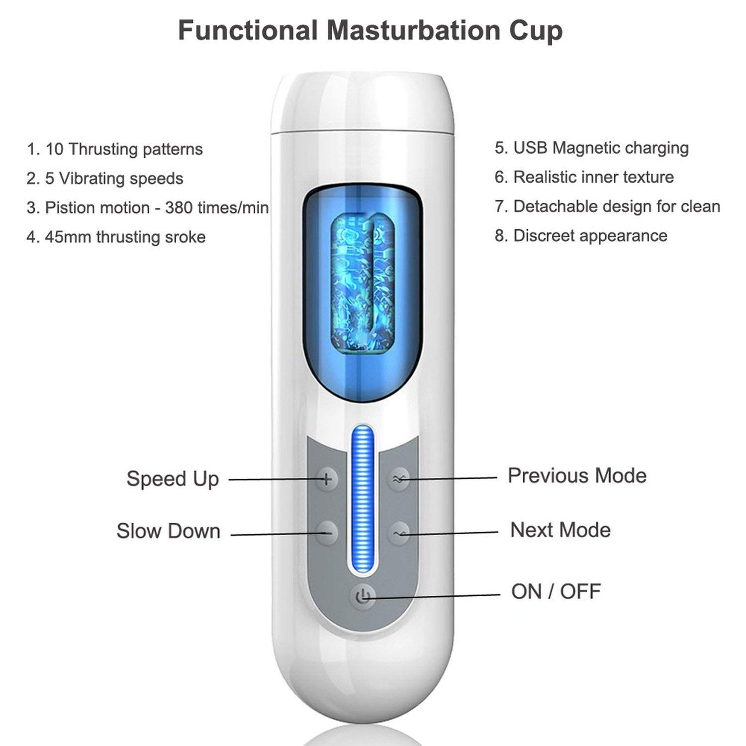 Vibrator Masturbator Men USB Charging Automatic Masturbation Cup Sucker Silicone Real Pussy Vagina Adult Sex-Toys for Man,Type B Carrying USEXMTY S-Tshirt by USEXMTY S-Tshirt (Image #2)