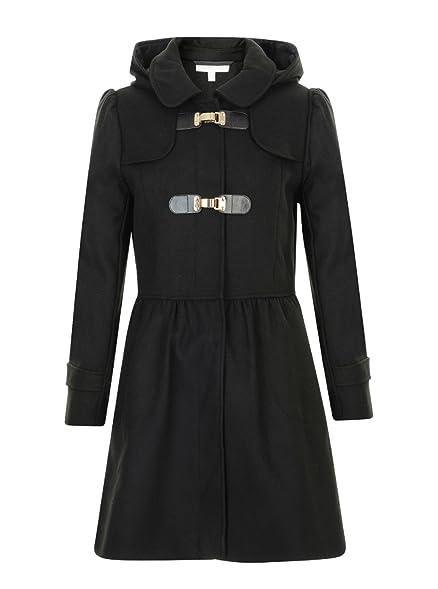 GIRLS DUFFLE COAT BLACK WOOL HOODED TAMMY GIRL RRP £32: Amazon.co ...