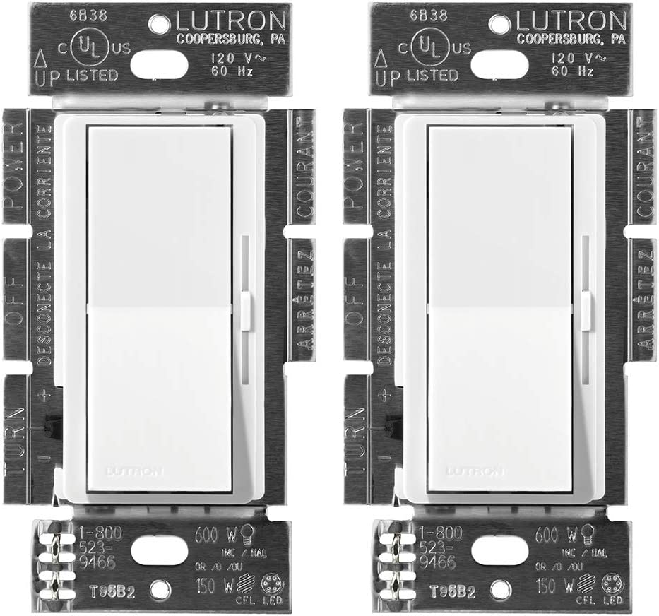 Lutron DVCL-153P-2-WH White Diva C.L Dimmer Switch (2 Pack) | for Dimmable LED, Halogen and Incandescent Bulbs, Single-Pole or 3-Way | DVCL-153P-WH