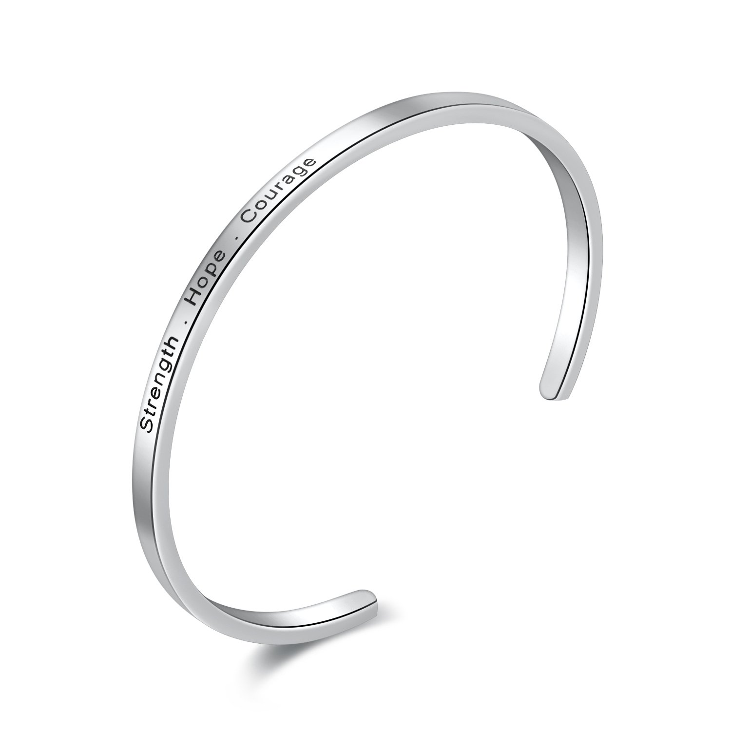 "Engraved ""Strength . Hope . Courage"" Inspirational Messaged Stainless Steel Cuff Bangle Bracelet"
