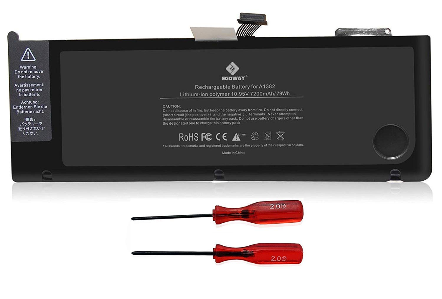E EGOWAY Replacement Laptop Battery Compatible for MacBook Pro 15 inch A1382 A1286 Early/Late 2011, Mid 2012