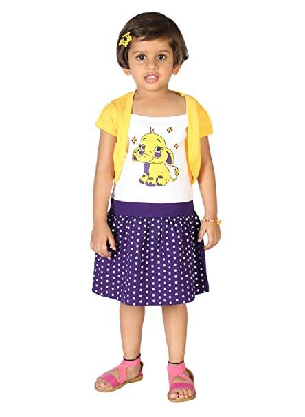 Lil Orchids Floral Printed Girls Casual Dress (LO-028-YELLOW) Girls' Dresses & Jumpsuits at amazon