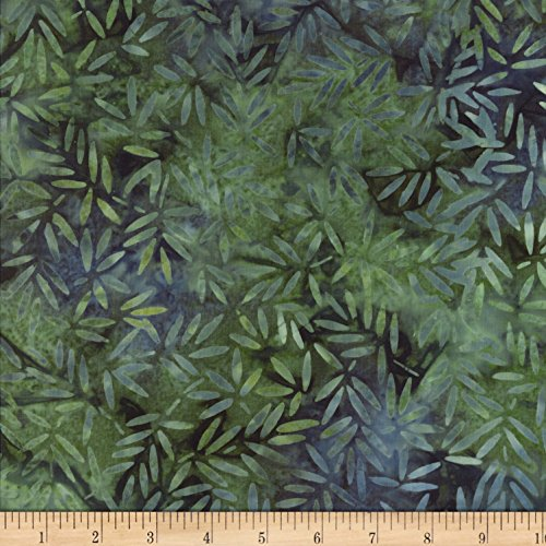 Bamboo Batik (Wilmington Batiks Bamboo Leaves All Over Blue/Green Fabric By The Yard)